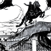 """Alexander Nikolaevich Benoit. Illustration for poem by A. S. Pushkin """"the bronze horseman"""". """"Around the foot of the lunatic poor spared..."""""""""""