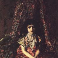Mikhail Aleksandrovich Vrubel. Girl against a Persian carpet