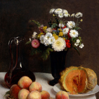 Анри Фантен-Латур. Натюрморт с графином, цветами и фруктами