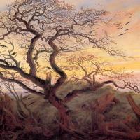 Каспар Давид Фридрих. Дерево с воронами. Могильный курган у Балтийского моря и остров Рюген вдали