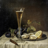 Still life with champagne and oysters. 1857