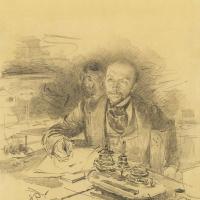 Илья Ефимович Репин. В. П. Лобойков и П. М. Третьяков на Совете Академии художеств