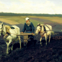 Plowman. Leo Tolstoy plowing