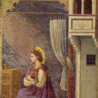 Джотто ди Бондоне. Благовещение Марии, деталь