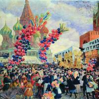 Борис Михайлович Кустодиев. Вербный торг у Спасских ворот на Красной площади в Москве