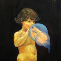 Сергей Константинович Малютов. Мальчик, надувающий воздушный шарик