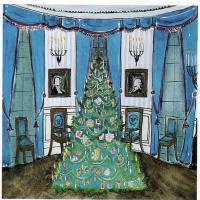 Рождественская елка в голубой комнате
