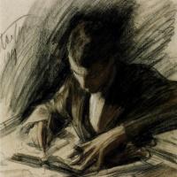 Leonid Osipovich Pasternak. Boris Pasternak writing the letter.