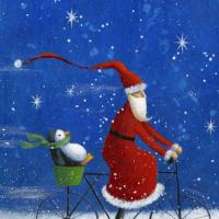 Джен Пэшли. Санта на велосипеде с пингвином