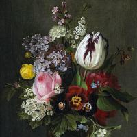 Отто Дидрик Оттесен. Натюрморт с розой, тюльпаном, анютиными глазками и другими цветами в стеклянной вазе