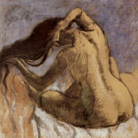 Nude Woman Combing her Hair