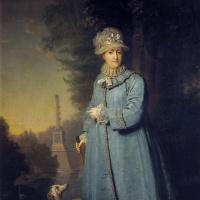 Владимир Лукич Боровиковский. Екатерина II на прогулке в Царскосельском парке с Чесменской колонной на заднем фоне