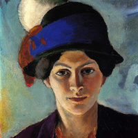 Portrait of the artist's wife in a hat