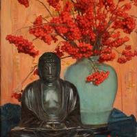 Оскар Густав Бьёрк. Натюрморт со статуей Будды и рябиной в вазе