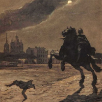 """The frontispiece to the poem of A. S. Pushkin """"the bronze Horseman"""""""