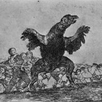 """Франсиско Гойя. Серия """"Бедствия войны"""", лист 76: Питающийся телами стервятник"""
