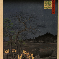 "Utagawa Hiroshige. ""Fox lights"" on the last day of the year, the iron wood in Suzaku, in the heart of ozy"