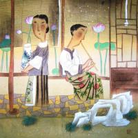 Гу Юэ. Девушки с цветами