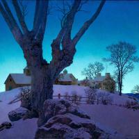 Зимний пейзаж с фермой на вершине холма