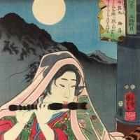 """Полная луна над мостом Годзё: Усивакамару. Серия """"Восемь портретов блестящих военных"""""""