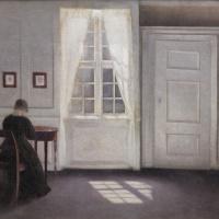 Вильгельм Хаммерсхёй. Интерьер на Страндгед с лучом солнца на полу