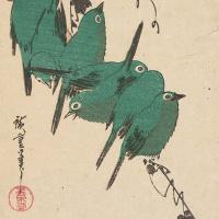 """Утагава Хиросигэ. Тыквы и стайка японских белоглазок, пион и зяблик. Серия """"Птицы и цветы"""""""