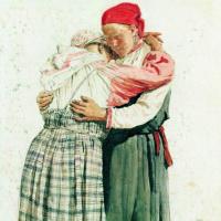 Илья Ефимович Репин. Две женские фигуры (Обнимающиеся крестьянки). Этюд