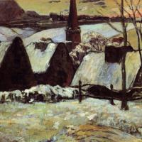 Бретонская деревня в снегу