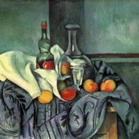 Still life with a bottle of crème de menthe