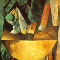 Пабло Пикассо. Хлеб и ваза с фруктами на столе