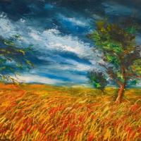 Морис де Вламинк. Пшеничное поле с деревьями