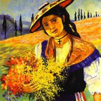 Франсис Пикабиа. Девушка с букетом цветов