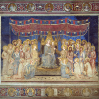 Simone Martini. Maesta, Madonna enthroned as patroness of the city, surrounded by saints, fresco in the Palazzo Pubblico in Siena