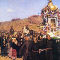 Religious procession in Kursk province. Fragment