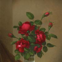 Мартин Джонсон Хед. Красные розы в стеклянном стакане