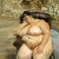 Люсьен Фрейд. Спящая у ковра со львами (Сью Тилли)