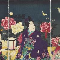 Utagawa Kunisada. Triptych: Night contemplation of blooming peonies