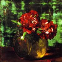 Уильям Чейз. Натюрморт с красными цветами на зеленом фоне