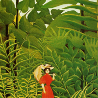 Женщина с зонтиком в экзотическом лесу