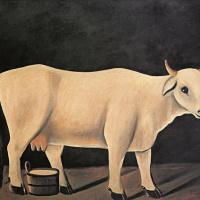 Нико Пиросмани (Пиросманашвили). Белая корова на черном фоне