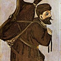 Нико Пиросмани (Пиросманашвили). Муша с бурдюком. Левая часть диптиха