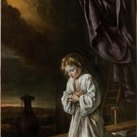 Иисус, молящийся перед крестом