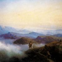 Цепи Кавказских гор. Вид с Каранайских гор на Темир-Хан-Шуру, на Каспийском море