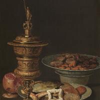 Клара Петерс. Натюрморт со сладостями, гранатом, позолоченным кубком и фарфором
