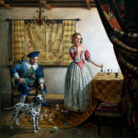 Portrait of Mr. and Mrs. Paul Casse in the interior of Vermeer