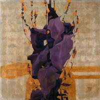 Egon Schiele. Stylized flowers on decorative background