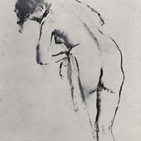 Эдгар Дега. Стоящая обнаженная за туалетом