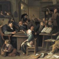 A school class with a sleeping schoolmaster