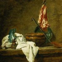 Жан Батист Симеон Шарден. Натюрморт с луком-пореем, кухонной посудой и мясом