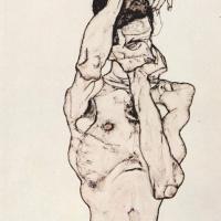 Эгон Шиле. Обнаженный с красным платком